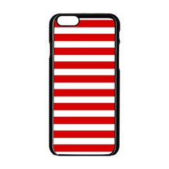 Red And White Stripes Apple Iphone 6/6s Black Enamel Case by timelessartoncanvas