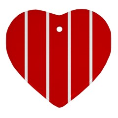 White And Red Stripes Ornament (heart)  by timelessartoncanvas