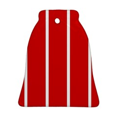 White And Red Stripes Ornament (bell)  by timelessartoncanvas