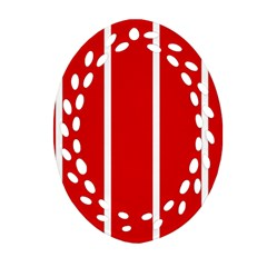 White And Red Stripes Ornament (oval Filigree)  by timelessartoncanvas