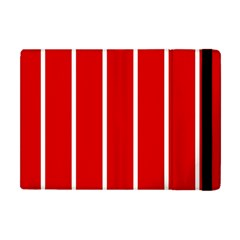 White And Red Stripes Apple Ipad Mini Flip Case by timelessartoncanvas