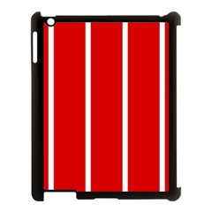 White And Red Stripes Apple Ipad 3/4 Case (black) by timelessartoncanvas