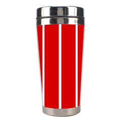 White And Red Stripes Stainless Steel Travel Tumblers by timelessartoncanvas