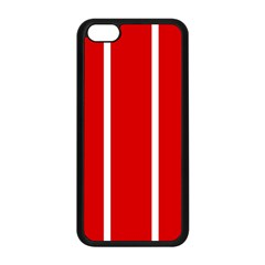 White And Red Stripes Apple Iphone 5c Seamless Case (black) by timelessartoncanvas