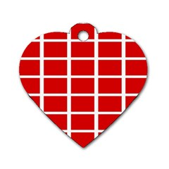 Red Cubes Stripes Dog Tag Heart (two Sides) by timelessartoncanvas