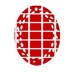 Red Cubes Stripes Ornament (oval Filigree)  by timelessartoncanvas
