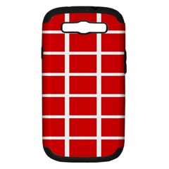 Red Cubes Stripes Samsung Galaxy S Iii Hardshell Case (pc+silicone) by timelessartoncanvas