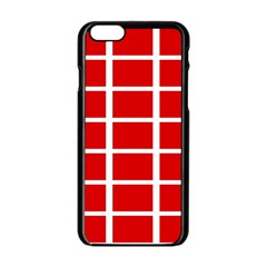 Red Cubes Stripes Apple Iphone 6/6s Black Enamel Case by timelessartoncanvas