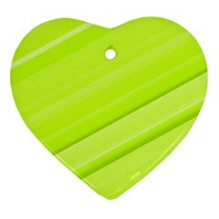 Bright Green Stripes Ornament (heart)  by timelessartoncanvas