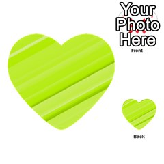 Bright Green Stripes Multi Purpose Cards (heart)  by timelessartoncanvas