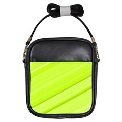 Bright Green Stripes Girls Sling Bags by timelessartoncanvas