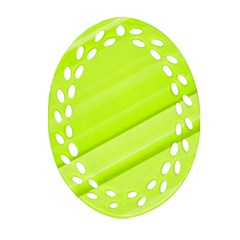 Bright Green Stripes Oval Filigree Ornament (2 Side)  by timelessartoncanvas