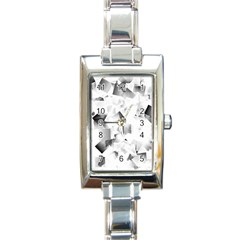 Gray And Silver Cubes Abstract Rectangle Italian Charm Watches by timelessartoncanvas