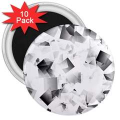 Gray And Silver Cubes Abstract 3  Magnets (10 Pack)  by timelessartoncanvas