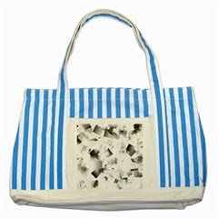 Gray And Silver Cubes Abstract Striped Blue Tote Bag by timelessartoncanvas