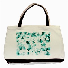 Modern Teal Cubes Basic Tote Bag by timelessartoncanvas