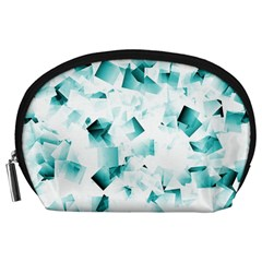 Modern Teal Cubes Accessory Pouches (large)  by timelessartoncanvas