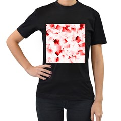 Modern Red Cubes Women s T Shirt (black) (two Sided) by timelessartoncanvas