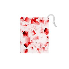 Modern Red Cubes Drawstring Pouches (xs)  by timelessartoncanvas