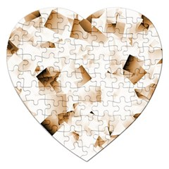 Modern Brown Cubes Jigsaw Puzzle (heart) by timelessartoncanvas
