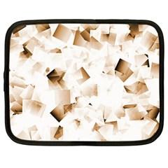 Modern Brown Cubes Netbook Case (large) by timelessartoncanvas