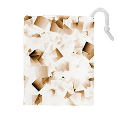 Modern Brown Cubes Drawstring Pouches (extra Large) by timelessartoncanvas