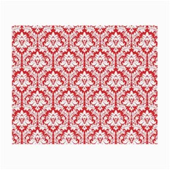 White On Red Damask Glasses Cloth (small, Two Sided) by Zandiepants