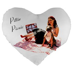 Pittie Picnic 2011 Large 19  Premium Flano Heart Shape Cushions by ButThePitBull