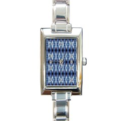 Blue White Diamond Pattern  Rectangle Italian Charm Watch by Costasonlineshop