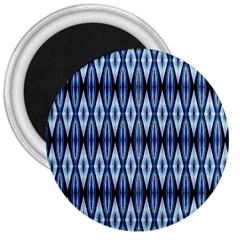 Blue White Diamond Pattern  3  Magnets by Costasonlineshop