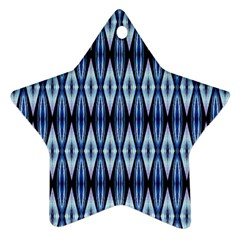Blue White Diamond Pattern  Ornament (star)