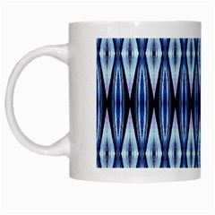 Blue White Diamond Pattern  White Mugs by Costasonlineshop