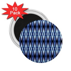 Blue White Diamond Pattern  2 25  Magnets (10 Pack)  by Costasonlineshop