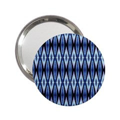 Blue White Diamond Pattern  2 25  Handbag Mirrors