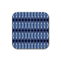 Blue White Diamond Pattern  Rubber Coaster (square)