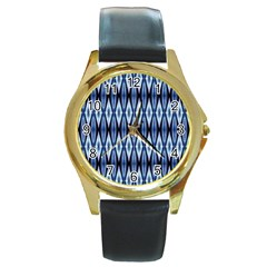 Blue White Diamond Pattern  Round Gold Metal Watch by Costasonlineshop