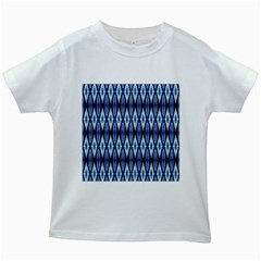 Blue White Diamond Pattern  Kids White T Shirts by Costasonlineshop