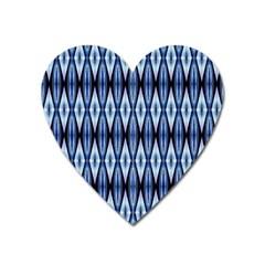Blue White Diamond Pattern  Heart Magnet by Costasonlineshop