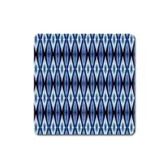 Blue White Diamond Pattern  Square Magnet by Costasonlineshop