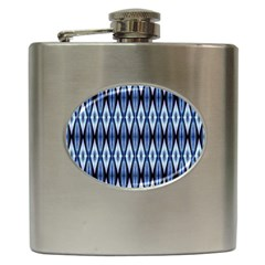 Blue White Diamond Pattern  Hip Flask (6 Oz) by Costasonlineshop