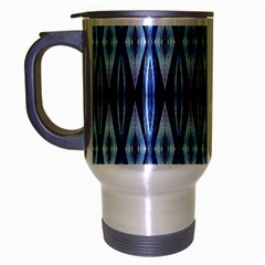 Blue White Diamond Pattern  Travel Mug (silver Gray) by Costasonlineshop