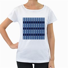 Blue White Diamond Pattern  Women s Loose Fit T Shirt (white) by Costasonlineshop
