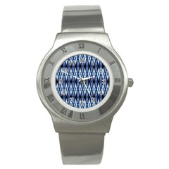 Blue White Diamond Pattern  Stainless Steel Watch by Costasonlineshop