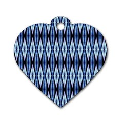 Blue White Diamond Pattern  Dog Tag Heart (two Sides) by Costasonlineshop