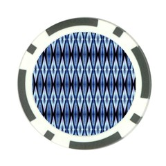 Blue White Diamond Pattern  Poker Chip Card Guards (10 Pack)  by Costasonlineshop