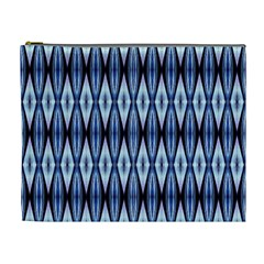 Blue White Diamond Pattern  Cosmetic Bag (xl) by Costasonlineshop