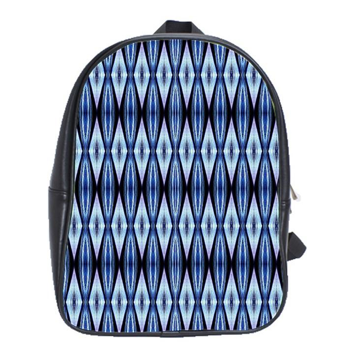 Blue White Diamond Pattern  School Bags(Large)