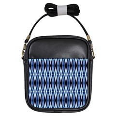Blue White Diamond Pattern  Girls Sling Bags by Costasonlineshop