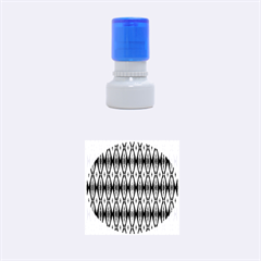 Blue White Diamond Pattern  Rubber Round Stamps (small) by Costasonlineshop
