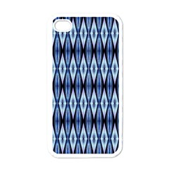 Blue White Diamond Pattern  Apple Iphone 4 Case (white) by Costasonlineshop